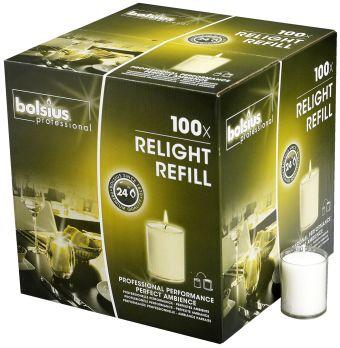 Świece wkłady Relight 64/52mm przeźroczyste </br> 100 szt. w opak.