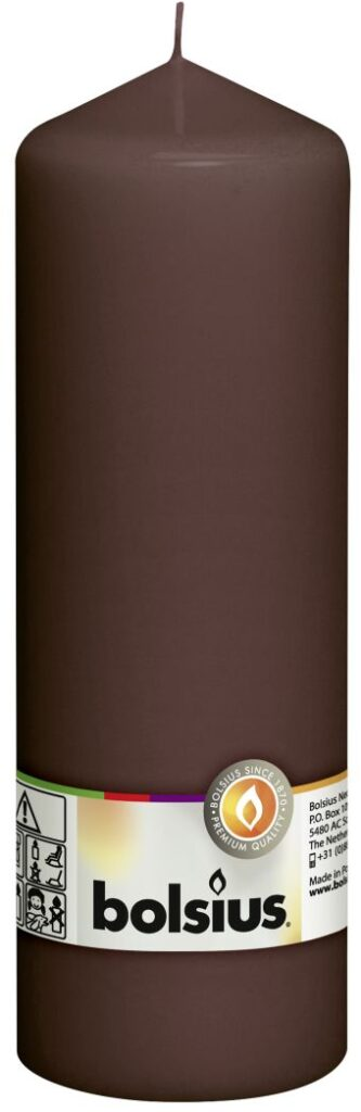 Świeca pieńkowa 200/68 mm kasztanowy brąz 8 szt. w opak.