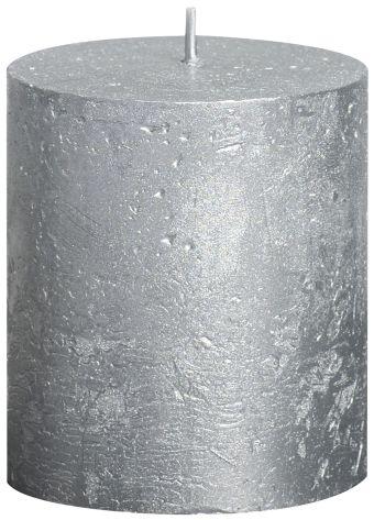 Świeca Pieńkowa Rustic Metal 80/68 mm srebrna 6 szt. w opak.