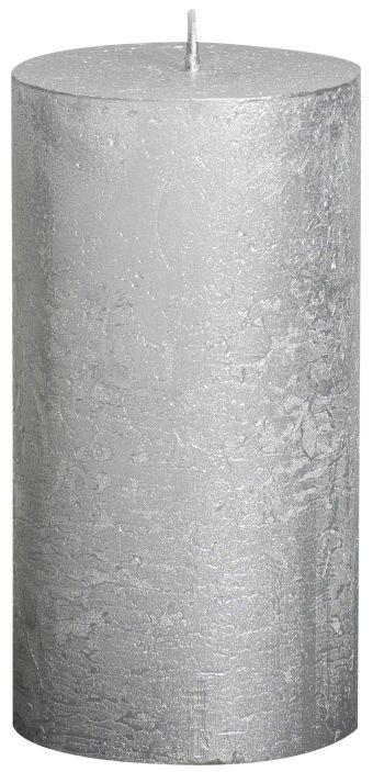 Świeca Pieńkowa Rustic Metal 130/68 mm srebrna 6 szt. w opak.