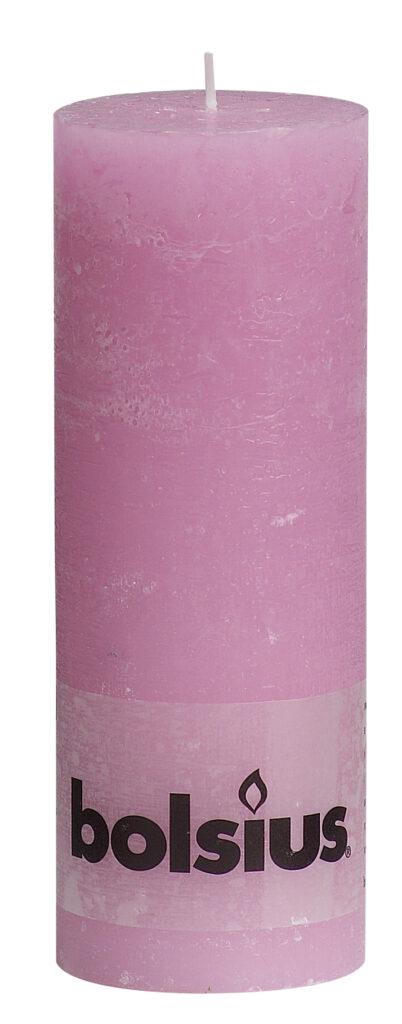 Świeca Pieńkowa Rustic 190/68 mm różowa 6 szt. w opak.