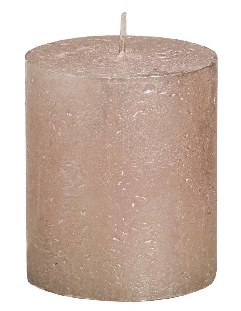 Świeca Pieńkowa Rustic Metal 80/68 mm różowe złoto 6 szt. w opak.