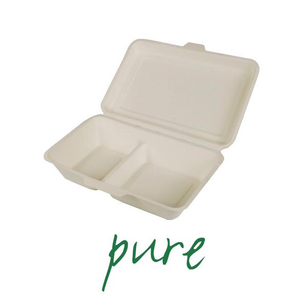 Pojemniki na żywność z trzciny cukrowej - 2 części [6,5 cm x 24 cm x 15,5 cm]
