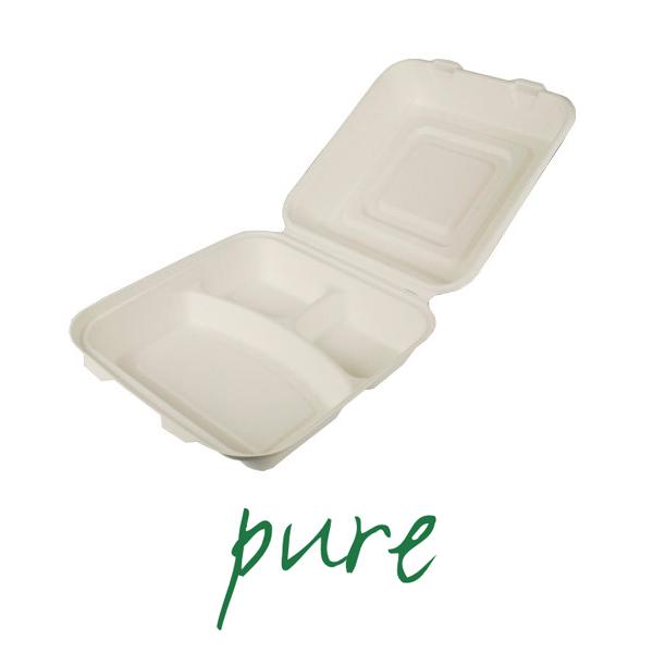 Pojemniki na żywność z trzciny cukrowej - 3 części [8 cm x 24 cm x 24 cm]