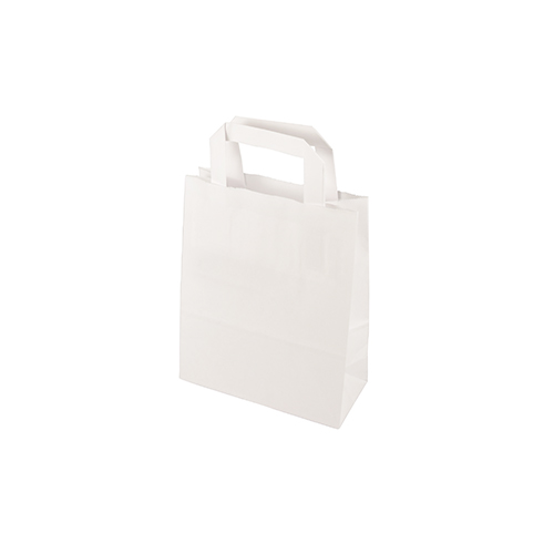 Torby papierowe białe z uchwytami [22 cm x 18 cm x 10 cm]
