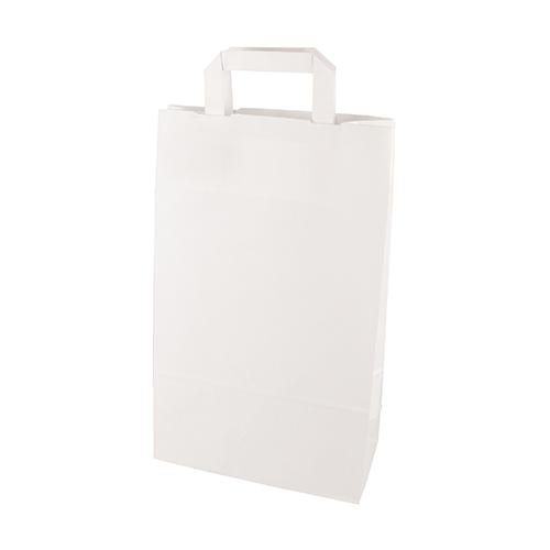 Torby papierowe białe z uchwytami [ 36 cm x 22 cm x 10 cm], 400 szt. w op.