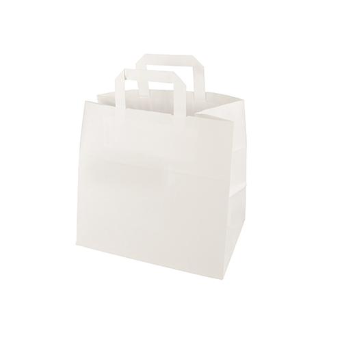 Torby papierowe białe z uchwytami  [25 cm x 26 cm x 17 cm], 400 szt. w op.