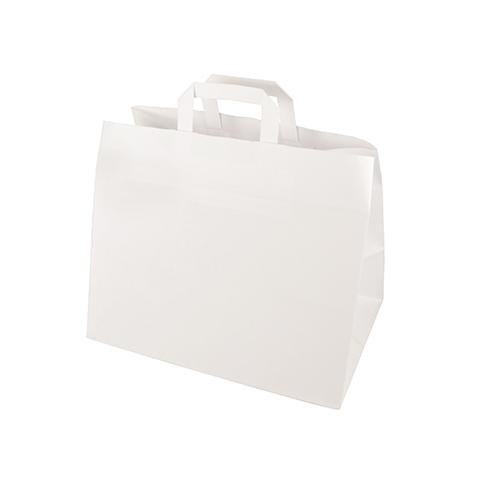 Torby papierowe białe z uchwytami [27 cm x 32 cm x 17 cm], 400 szt. w op.