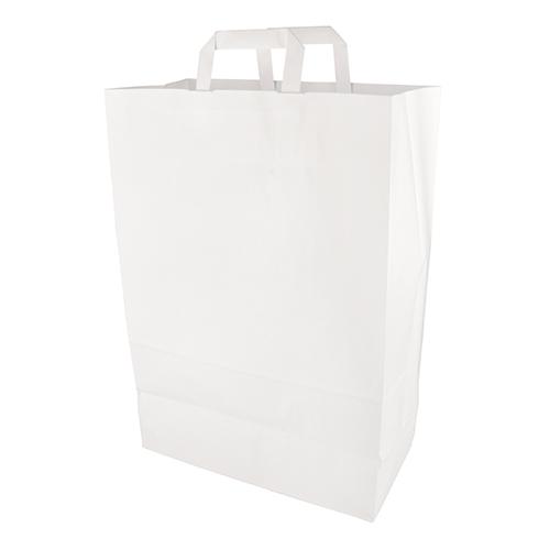 Torby papierowe białe z uchwytami [44 cm x 32 cm x 17 cm ], 200 szt. w op.