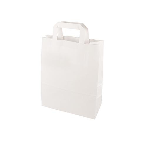 Torby papierowe białe z uchwytami [28 cm x 22 cm x 10 cm], 400 szt. w op.