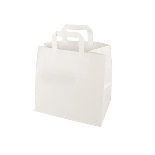Torby papierowe białe z uchwytem i pojedynczym EAN  [25 cm x 26 cm x 17 cm]