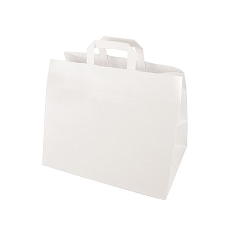 Torby papierowe białe z uchwytami [27 cm x 32 cm x 21,5 cm], 400 szt. w op.