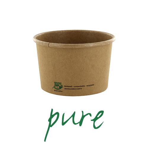 Kubki z papieru na zupę - okrągłe, brązowe (pojemność - 230 ml), 500 szt. w op.