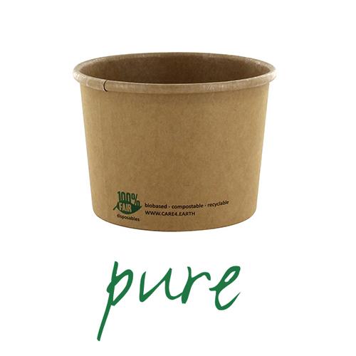 Kubki z papieru na zupę - okrągłe, brązowe (pojemność - 350 ml), 500 szt. w op.