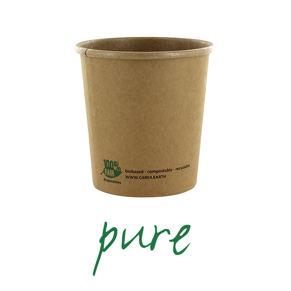 Kubki z papieru na zupę - okrągłe, brązowe (pojemność - 470 ml), 500 szt. w op.