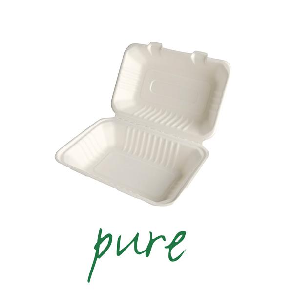 Pojemniki na żywność z trzciny cukrowej - niepodzielne [7,9 cm x 15,5 cm x 23 cm]