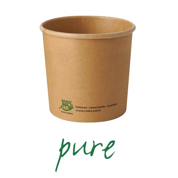 Kubki z papieru na zupę - okrągłe, brązowe (pojemność - 760 ml), 500 szt. w op.