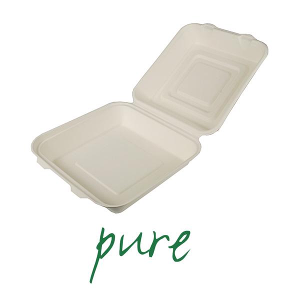 Pojemniki na żywność z trzciny cukrowej - niepodzielne [8 cm x 25,5 cm x 25,5 cm]