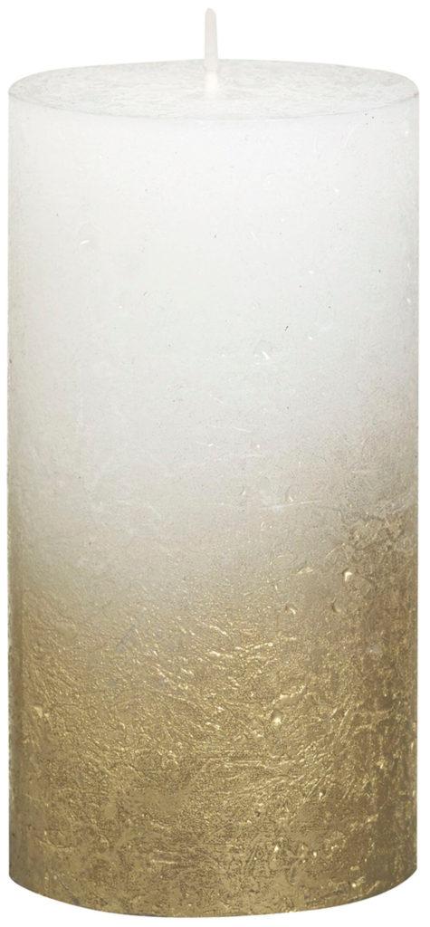 Świeca Pieńkowa Rustic Metal Fading 130/68 mm złoto biały 6 szt. w opak.