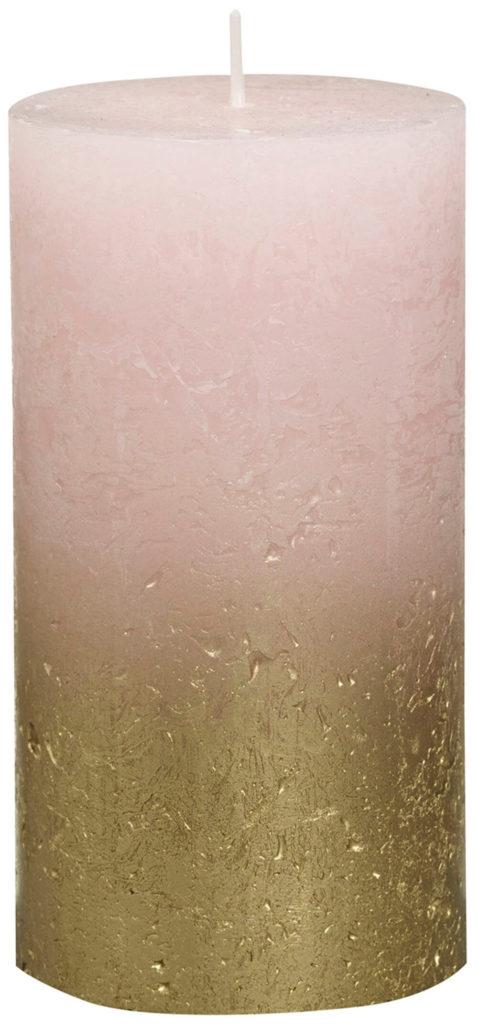 Świeca Pieńkowa Rustic Metal Fading 130/68 mm złoto pastelowy róż 6 szt. w opak.