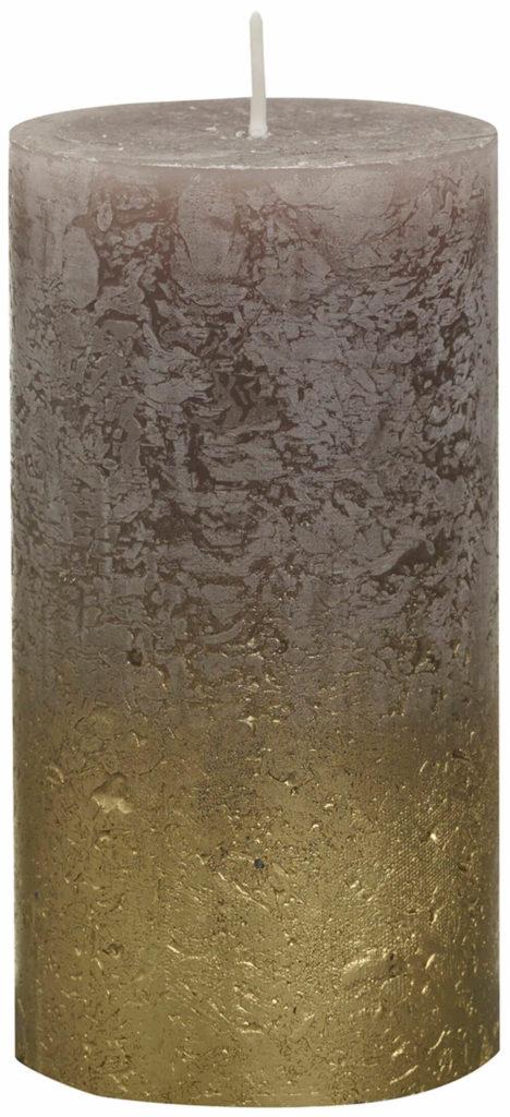 Świeca Pieńkowa Rustic Metal Fading 130/68 mm złoto taupe 6 szt. w opak.