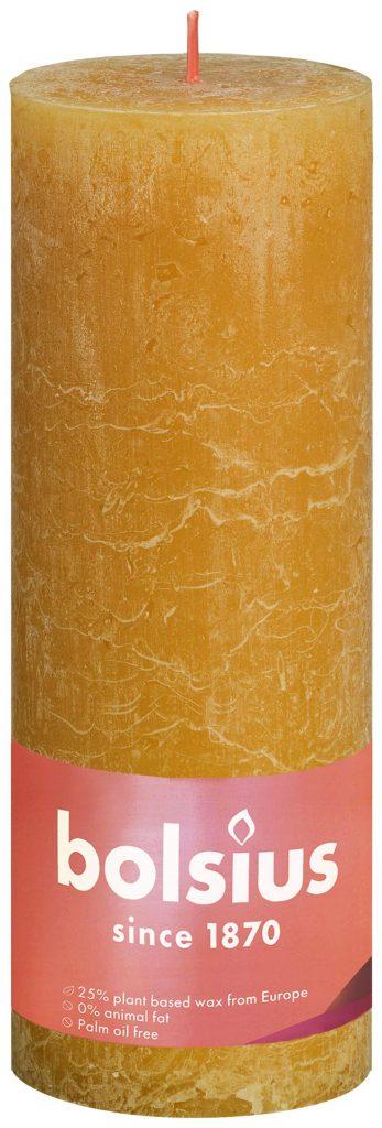 Świeca Pieńkowa Rustic Shine 190/68 mm miodowy żółty 4 szt. w opak.