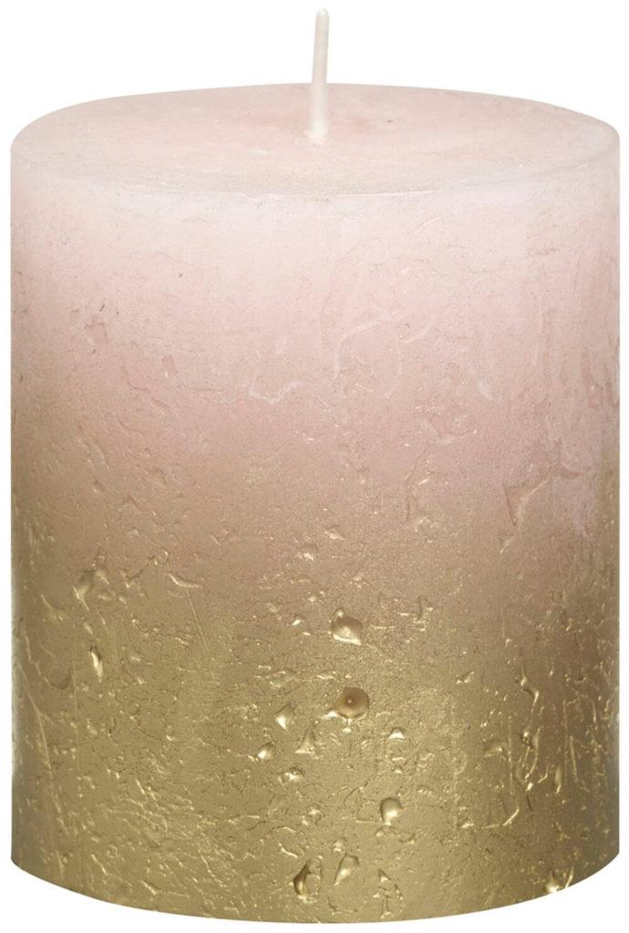Świeca Pieńkowa Rustic Metal Fading 80/68 mm złoto pastelowy róż 6 szt. w opak.