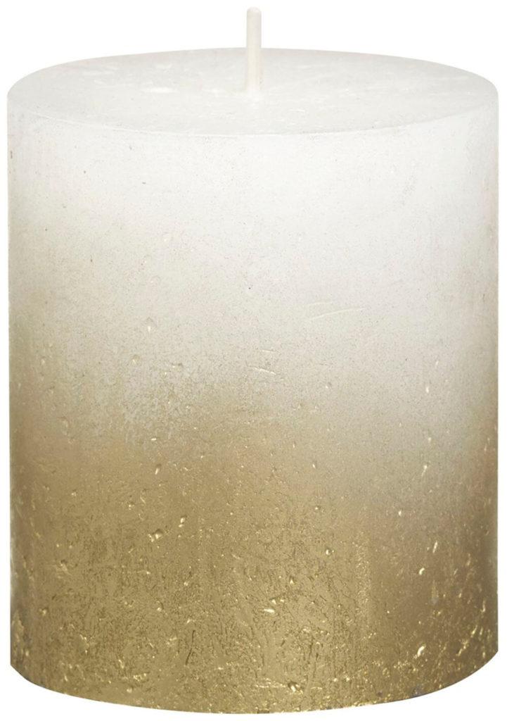 Świeca Pieńkowa Rustic Metal Fading 80/68 mm złoto biały 6 szt. w opak.