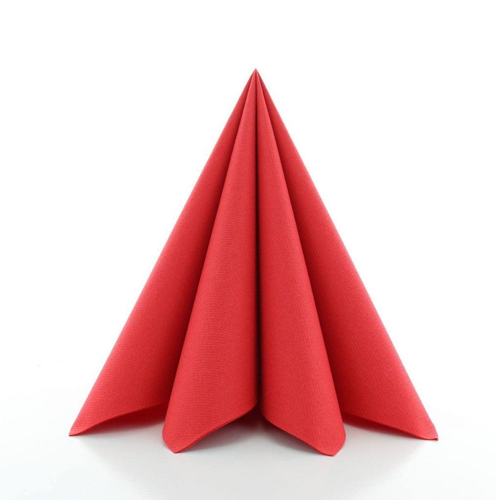 Serwetki Airlaid Mank, składane na 1/4, 40 cm x 40 cm, Czerwone, 300 szt. w op.