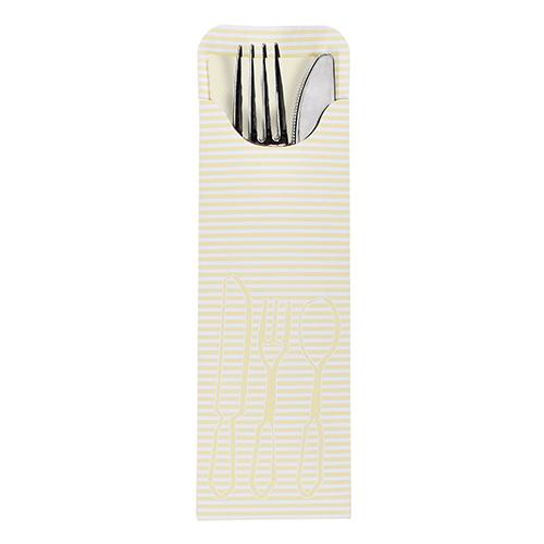 Torebki na sztućce, 23,5 cm x 7,3 cm, Kremowe, z kremową serwetką airlaid, 500 szt. w op.
