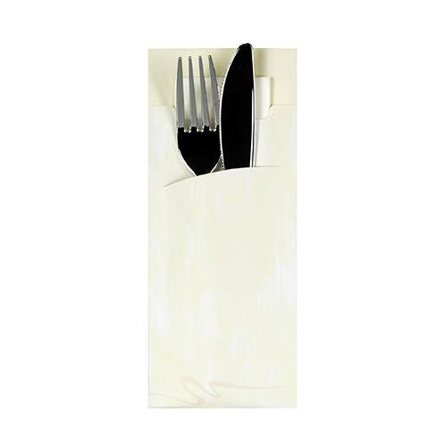 Torebki na sztućce, 20 cm x 8,5 cm, Kremowe, z białą serwetką 2-warstwową 33 x 33 cm, 520 szt. w op.