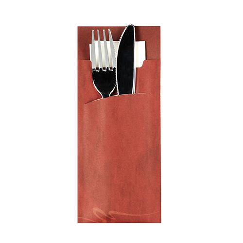 Torebki na sztućce, 20 cm x 8,5 cm, Bordowe, z białą serwetką 2-warstwową 33 x 33 cm, 520 szt. w op.