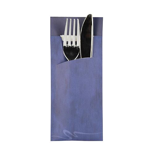 Torebki na sztućce, 20 cm x 8,5 cm, Niebieskie, z białą serwetką 2-warstwową 33 x 33 cm, 520 szt. w op.
