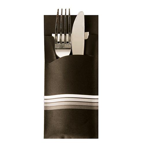 """Torebki na sztućce, 20 cm x 8,5 cm, Czarno - Białe, """"Stripes"""", z białą serwetką 2-warstwową 33 x 33 cm, 520 szt. w op."""