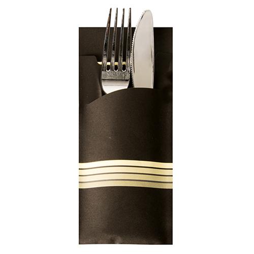 """Torebki na sztućce, 20 cm x 8,5 cm, Czarno - Kremowe, """"Stripes"""", z kremową serwetką 2-warstwową 33 x 33 cm, 520 szt. w op."""