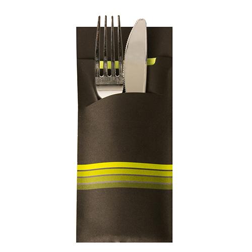 """Torebki na sztućce, 20 cm x 8,5 cm, Czarno - Limonkowe, """"Stripes"""", z limonkową serwetką 2-warstwową 33 x 33 cm, 520 szt. w op."""