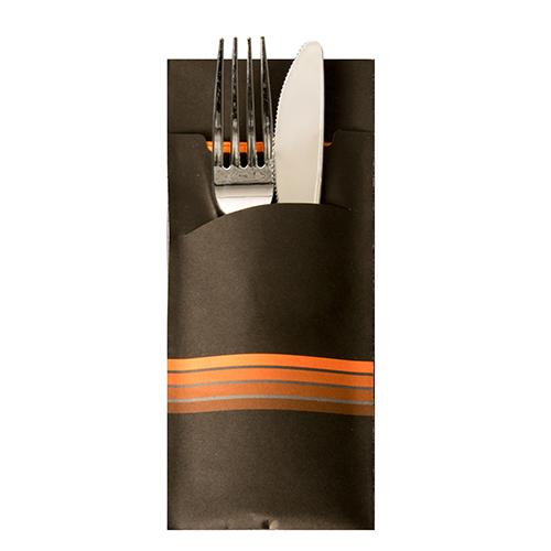 """Torebki na sztućce, 20 cm x 8,5 cm, Czarno - Pomarańczowe, """"Stripes"""", z pomarańczową serwetką 2-warstwową 33 x 33 cm, 520 szt. w op."""