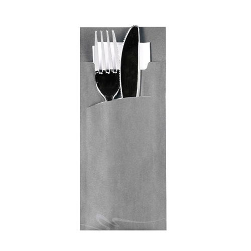 Torebki na sztućce, 20 cm x 8,5 cm, Szare, z białą serwetką 2-warstwową 33 x 33 cm, 520 szt. w op.
