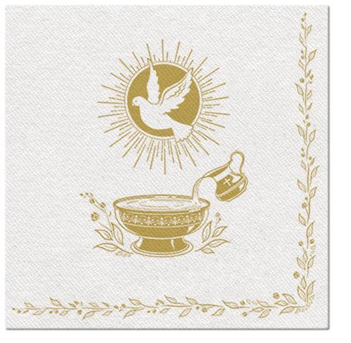 Serwetki Airlaid Paw, składane na 1/4, 40 cm x 40 cm, BAPTISM BLESSING, 400 szt. w op.