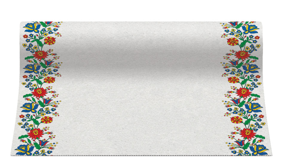 Bieżniki Airlaid Paw, 40 cm x 24 m, FOLK FLOWERS, 4 rolki w op.