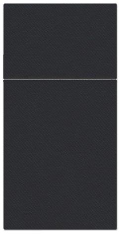 Kieszonki na Sztućce Airlaid Paw, składane na 1/8, 40 cm x 40 cm, Czarne, 400 szt. w op.