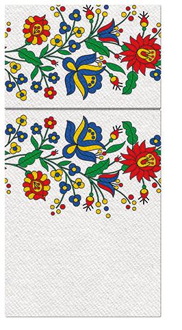 Kieszonki na Sztućce Airlaid Paw, składane na 1/8, 40 cm x 40 cm, FOLK FLOWERS, 100 szt. w op.
