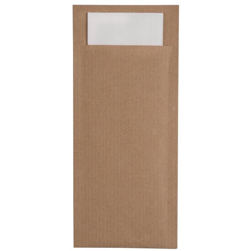 Torebki na sztućce, 20 cm x 8,5 cm, Eco Brown - 100 % z recyklingu, z białą serwetką 2- warstwową 33 x 33 cm, 600 szt. w op.