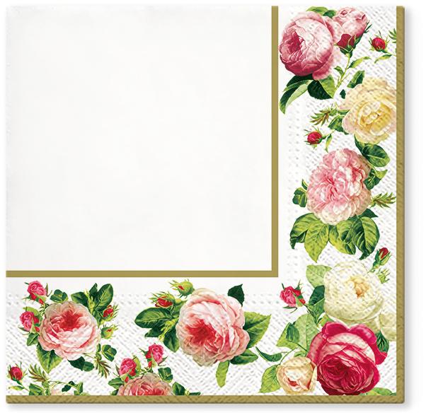 Serwetki Tissue 3-warstwowe, 33 x 33, Decor ROSY FRAME Złote, składane na 1/4, 240 szt. w op.
