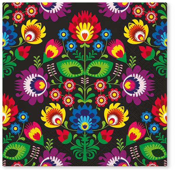 Serwetki Tissue 3-warstwowe, 33 x 33, Decor FOLKY STYLE, składane na 1/4, 240 szt. w op.
