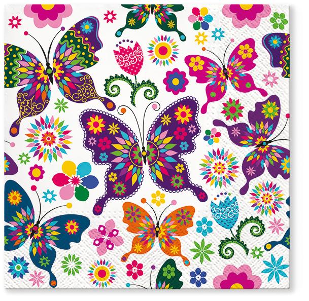 Serwetki Tissue 3-warstwowe, 33 x 33, Decor COLORFUL BUTTERFLIES, składane na 1/4, 240 szt. w op.