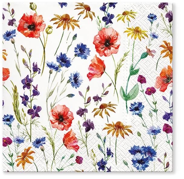 Serwetki Tissue 3-warstwowe, 33 x 33, Decor FIELD OF FLOWERS, składane na 1/4, 240 szt. w op.