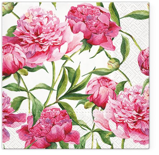 Serwetki Tissue 3-warstwowe, 33 x 33, Decor PINK PEONIES, składane na 1/4, 240 szt. w op.