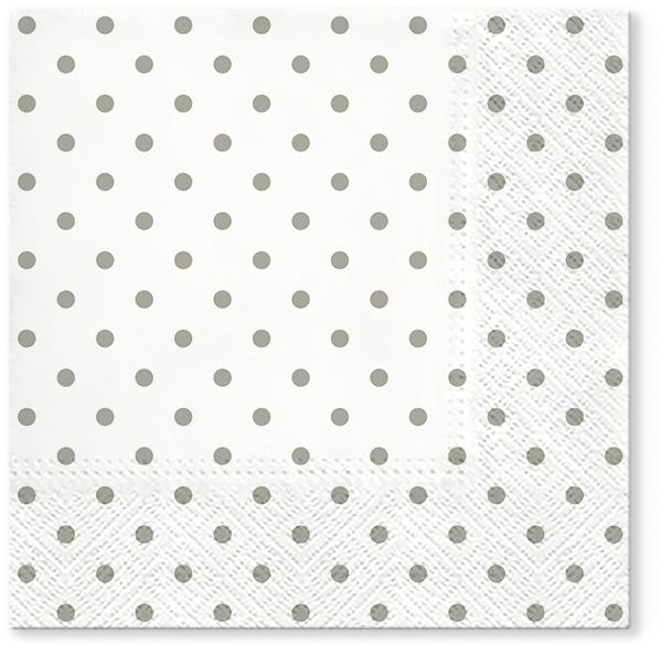 Serwetki Tissue 3-warstwowe, 33 x 33, Decor BASIC DOTS, składane na 1/4, 240 szt. w op.