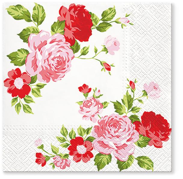 Serwetki Tissue 3-warstwowe, 33 x 33, Decor ROSES COMPOSITION, składane na 1/4, 240 szt. w op.